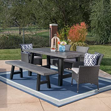 Gina Outdoor 6 Piece Grey Wicker Dining Set With Natural Grey Finish Light  Weight Concrete Table