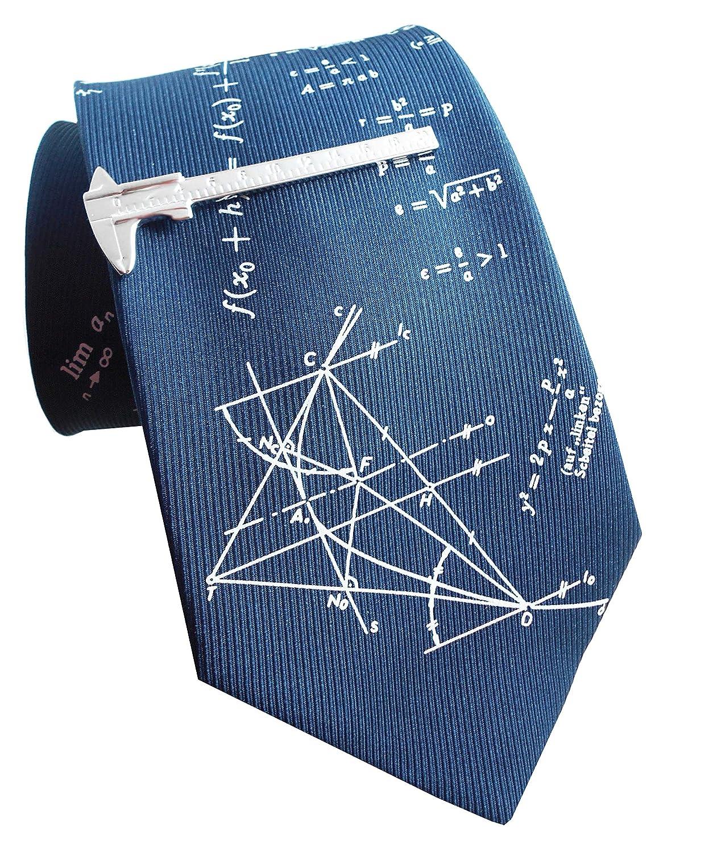 Set Seidenkrawatte Mathematik + Schieblehre Krawattennadel - Krawattenklammer inkl. Geschenkhülle Magdalena r. NM0024-km0195