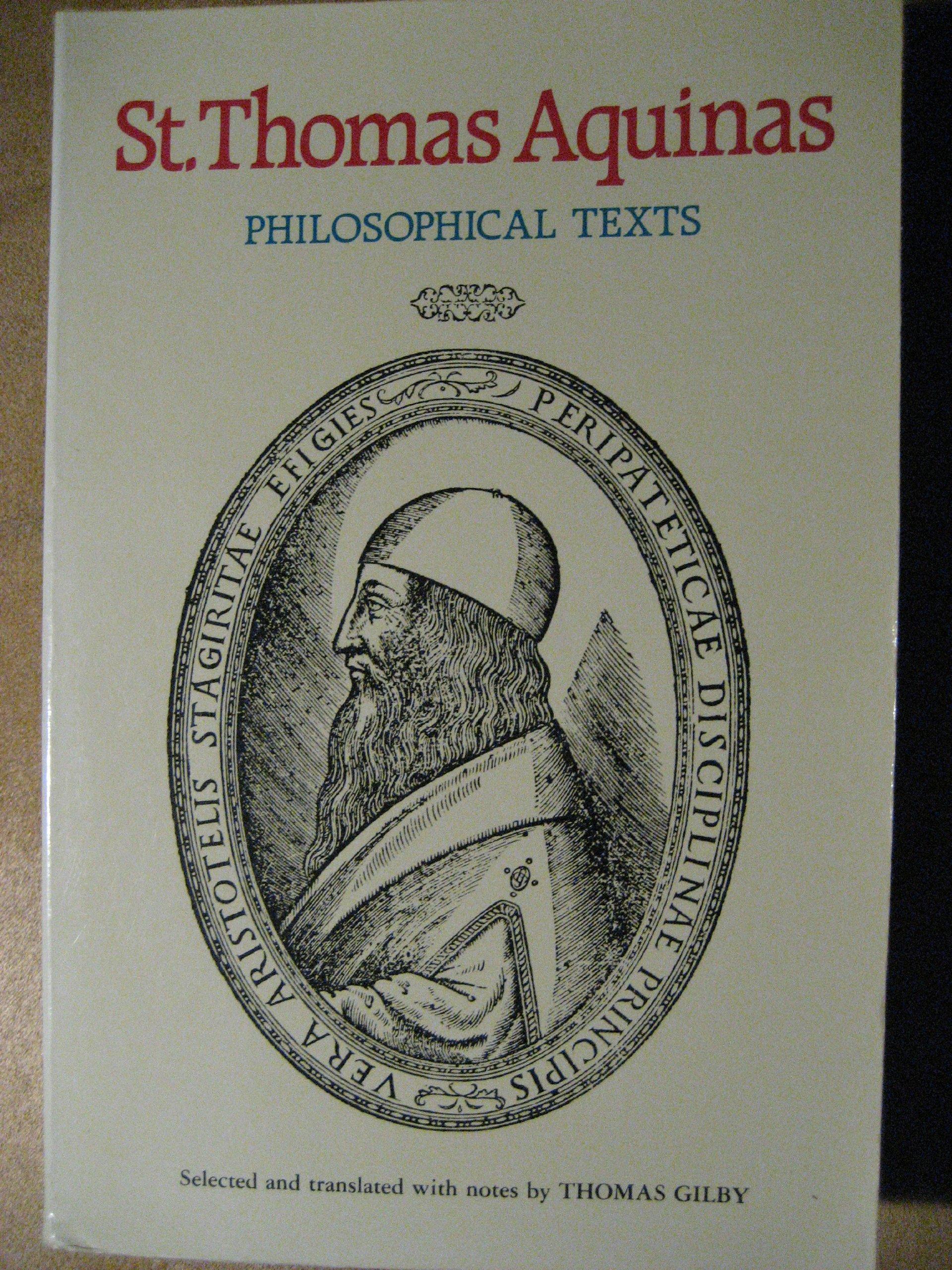 St Thomas Aquinas Philosophical Texts English And Latin Edition