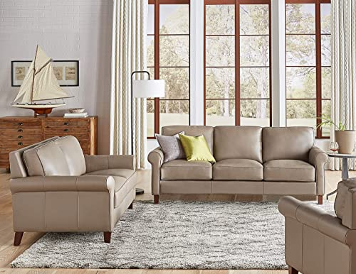 Hydeline Laguna 100 Leather Sofa Couch Set Sofa, Loveseat, Chair, Taupe