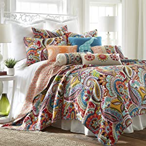 Levtex Home Rhapsody Quilt Set - Full/Queen Quilt + Two Standard Pillow Shams - Paisley in Yellow Orange Red Green Blues - Quilt Size (88 x 92in.) and Pillow Sham Size (26 x 20in.)- Reversible -Cotton