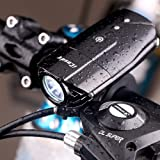 iCoudy R3 Rechargeable Bike Front Light 1200mAh Lithium Battery Cycling Headlight Waterproof Led Bicycle Light Easy to Install & Remove for Safe Cycling(Black)