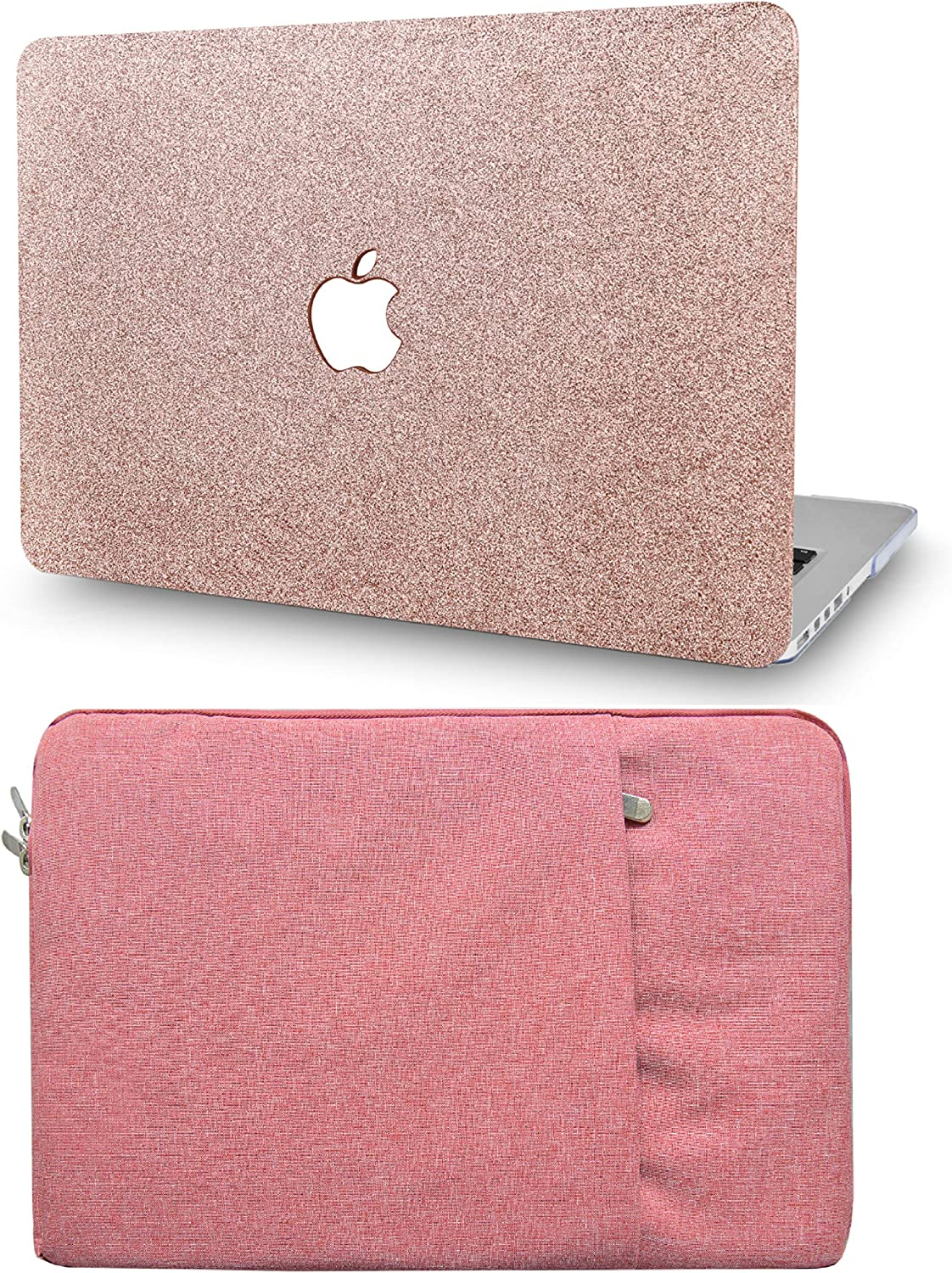 """KECC Laptop Case for MacBook Pro 13"""" (2020/2019/2018/2017/2016) with Sleeve Plastic Hard Shell A2289/A2251/A2159/A1989/A1706/A1708 Touch Bar 2 in 1 Bundle (Rose Gold Sparkling)"""