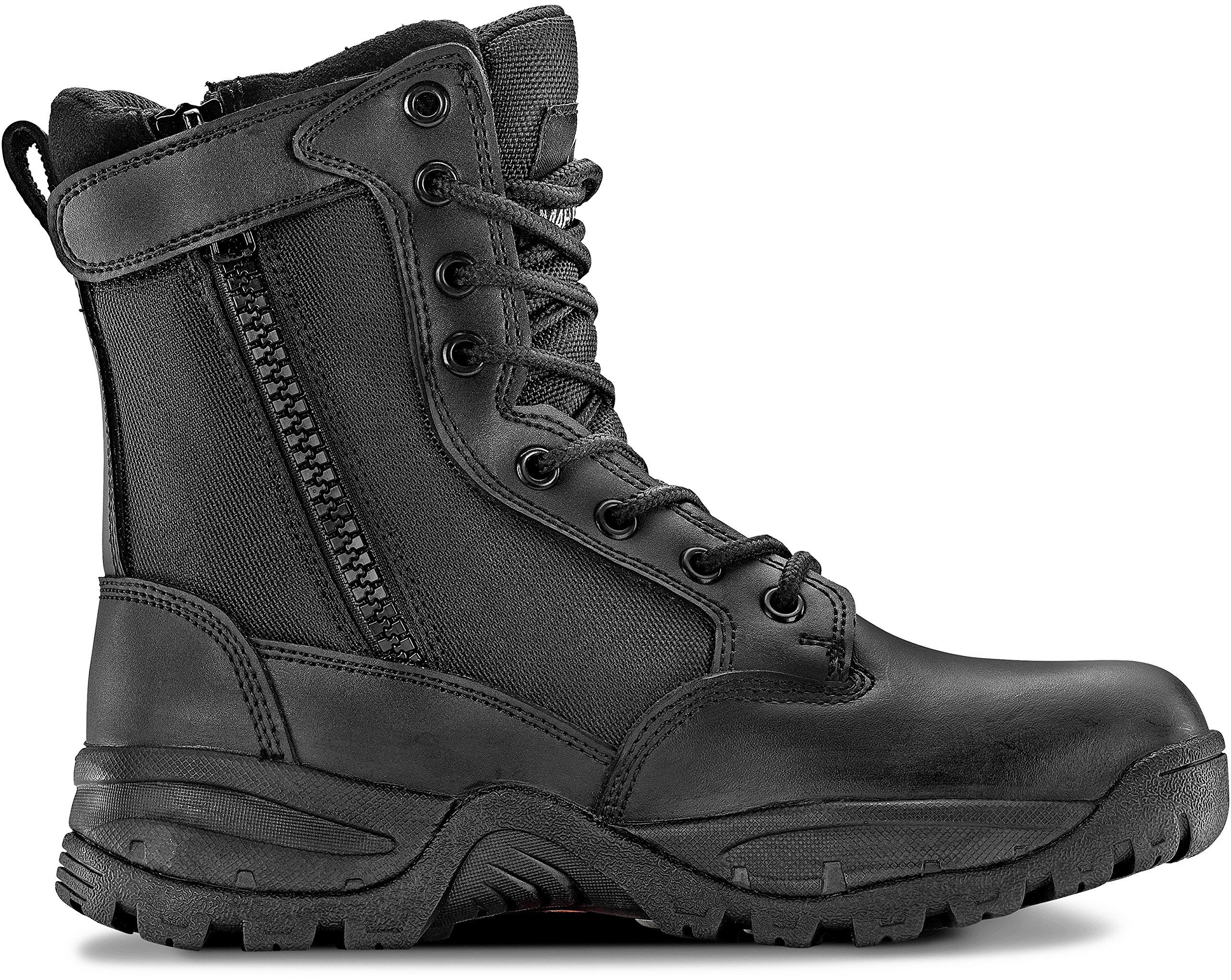 Maelstrom Women's TAC Force 8 inch Military Tactical Duty Work Boot with Zipper, Black, 8 M US
