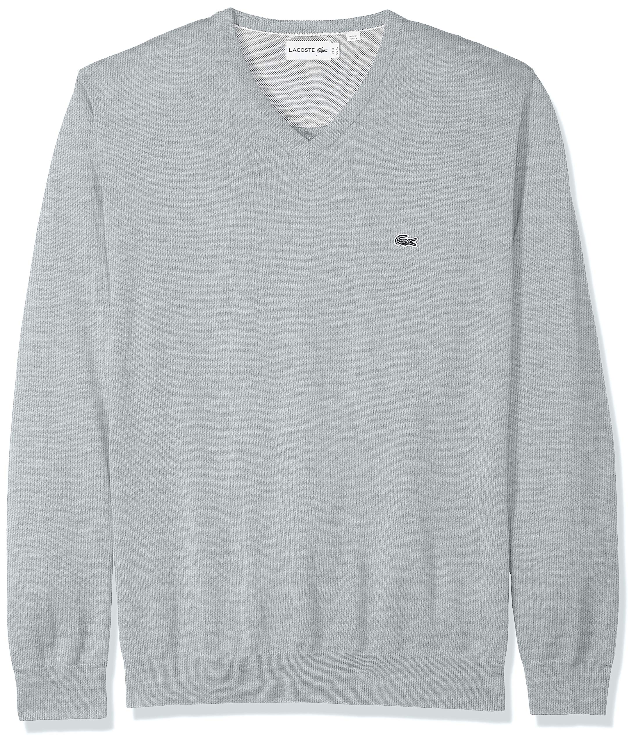 Lacoste Men's Long Sleeve Half Moon V Neck Jersey Sweater, PLUVIER Chine/Flour/Silver, Large