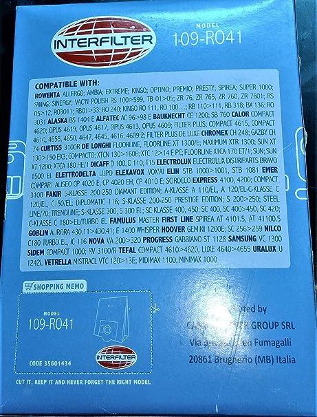 Bolsas aspiradora Ro 41 109 para Rowenta: Amazon.es: Hogar