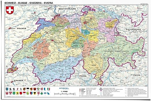 reinders - Póster de Mapa de Suiza (91,5 x 61 cm): Amazon.es: Hogar