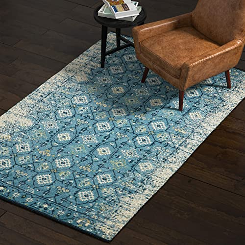 Amazon Brand Rivet Modern Distressed Persian Area Rug, 5 x 8 Foot, Blue Multicolor