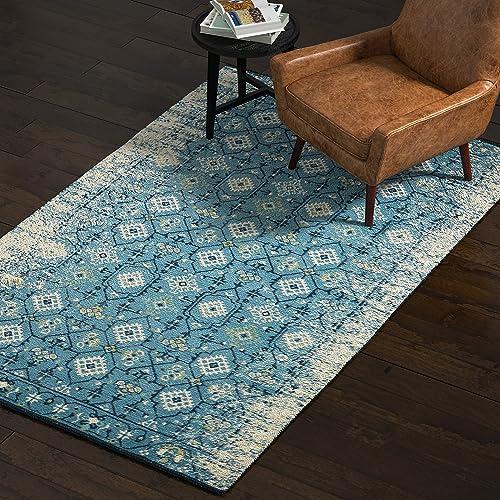 Rivet Modern Distressed Persian Area Rug, 5 x 8 Foot, Blue Multicolor