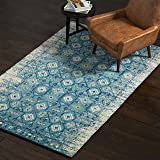 Amazon Brand – Rivet Modern Distressed Persian Area Rug, 5 x 8 Foot, Blue Multicolor