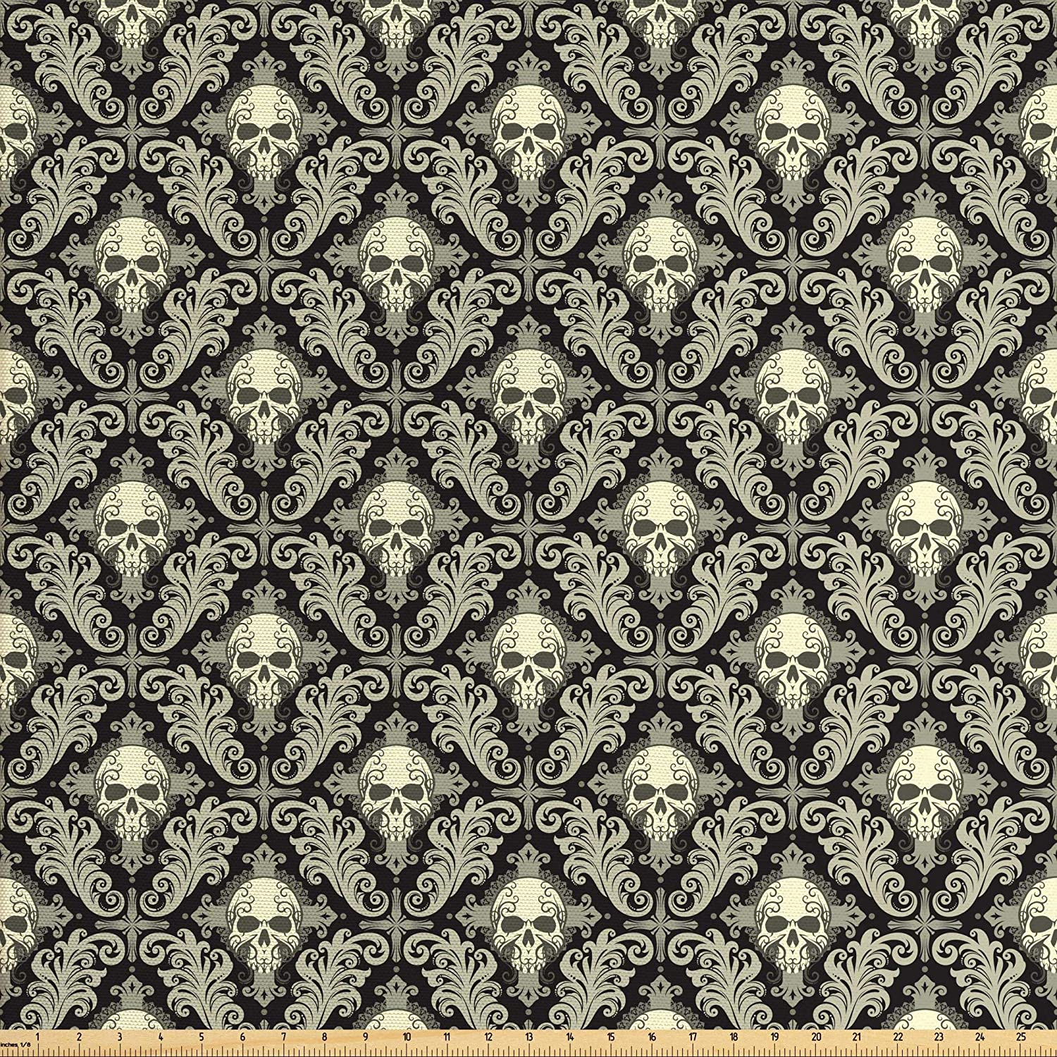 Lunarable Skull Fabric by The Yard, Skulls with Floral Curly Details Antique Victorian Design Gothic Elements, Decorative Fabric for Upholstery and Home Accents, 2 Yards, Black Taupe