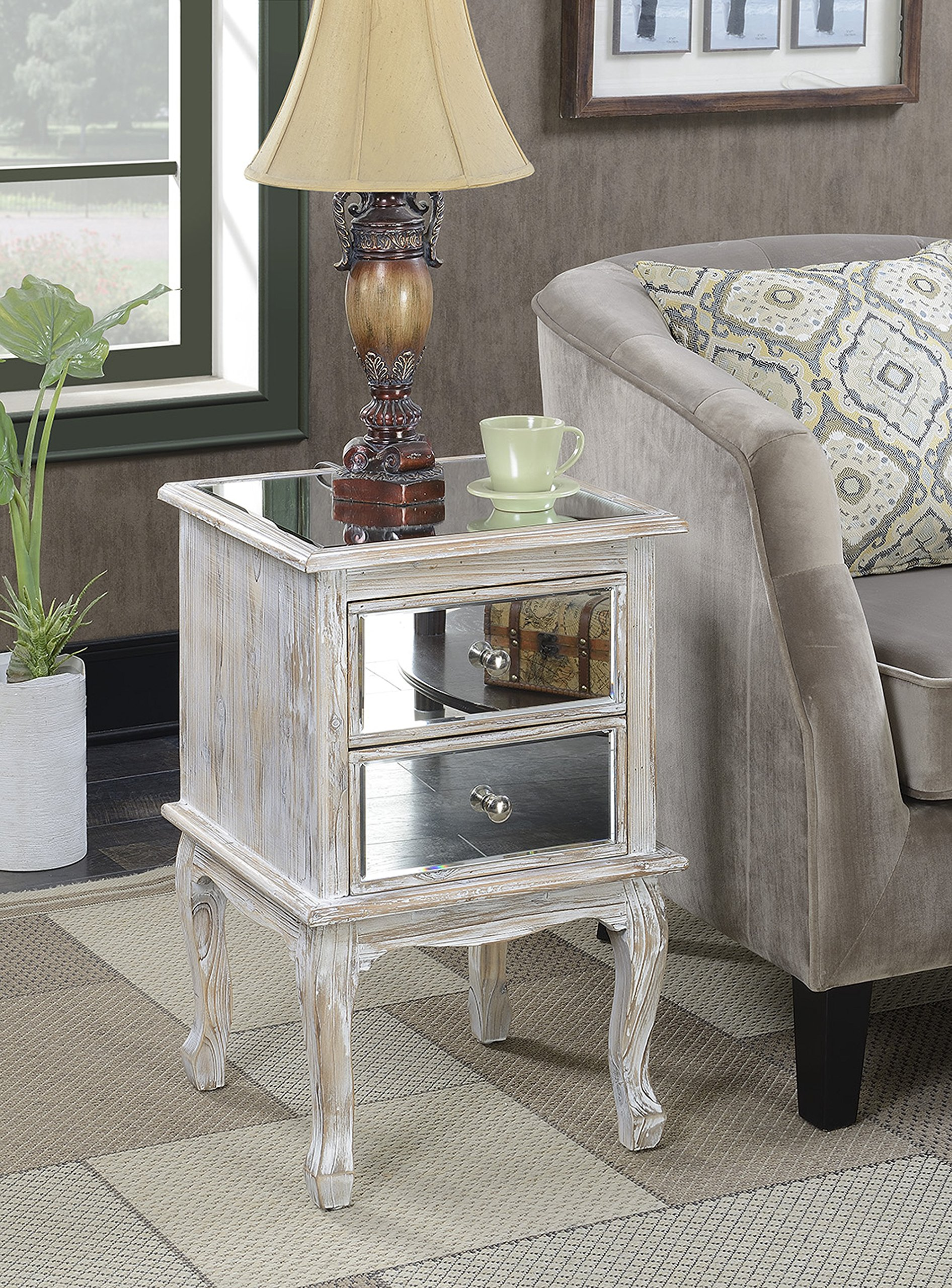 Convenience Concepts Gold Coast Collection Queen Anne Mirrored End Table, Weathered White