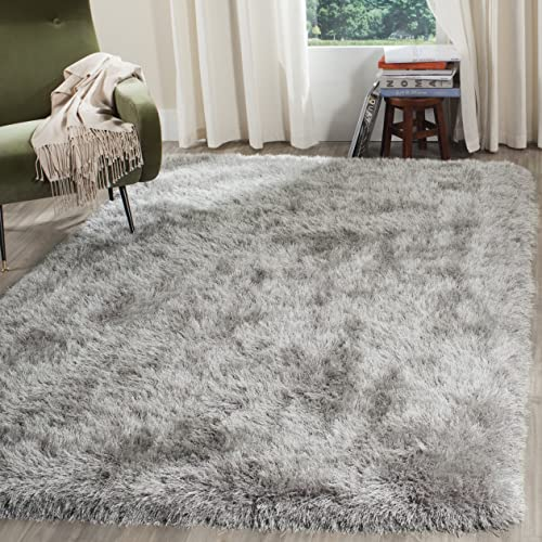 Safavieh Venice Shag Collection SG256S Handmade Silver Polyester Area Rug 6 x 9