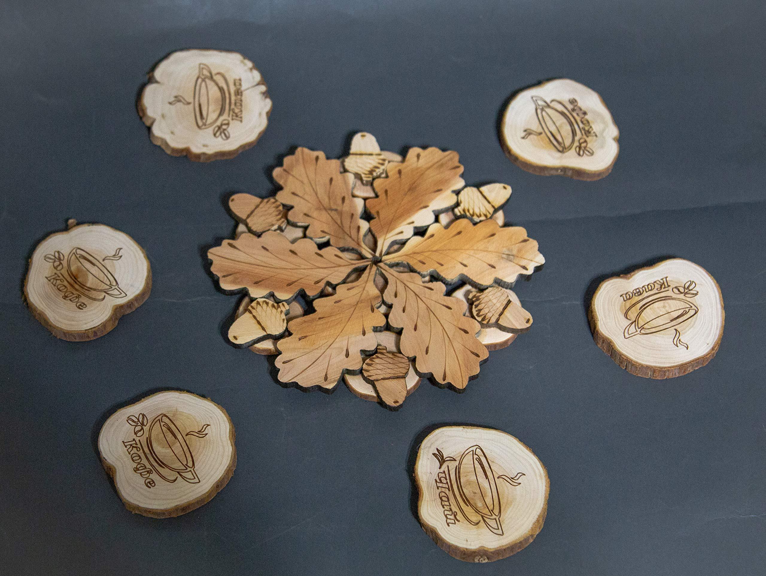 Teapot Trivets Set Handmade Carved Wood Ukrainian Juniper Wooden hot pad for a teapot + Cups