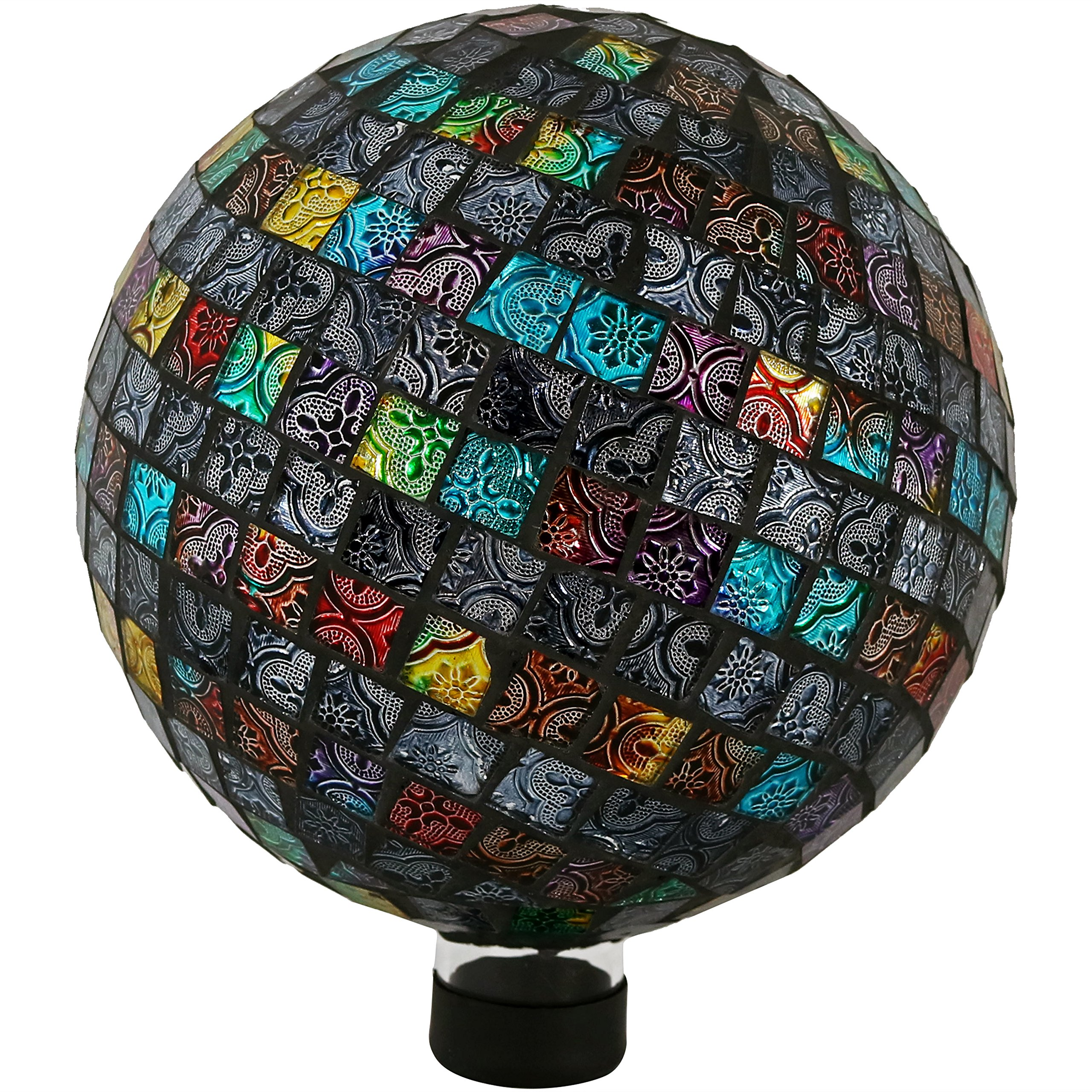 Sunnydaze Tiled Mosaic Gazing Globe Glass Garden Ball, Outdoor Lawn and Yard Ornament, Multi-Colored, 10-Inch