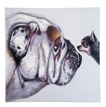 Kare Tableau Peinture ã Lhuile Chihuahua Bulldog Anglais 80 X 80