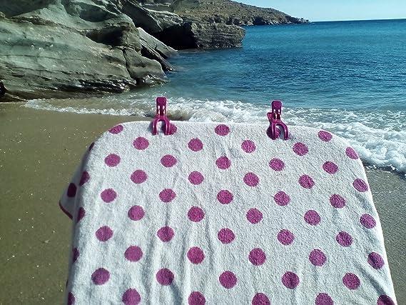 Annas Key 8 Pinzas para Toallas de Playa. Durable Toalla Clips para tumbonas en Brillantes Colores Hold en Lugar su Toalla de Playa de Gran tamaño en el ...