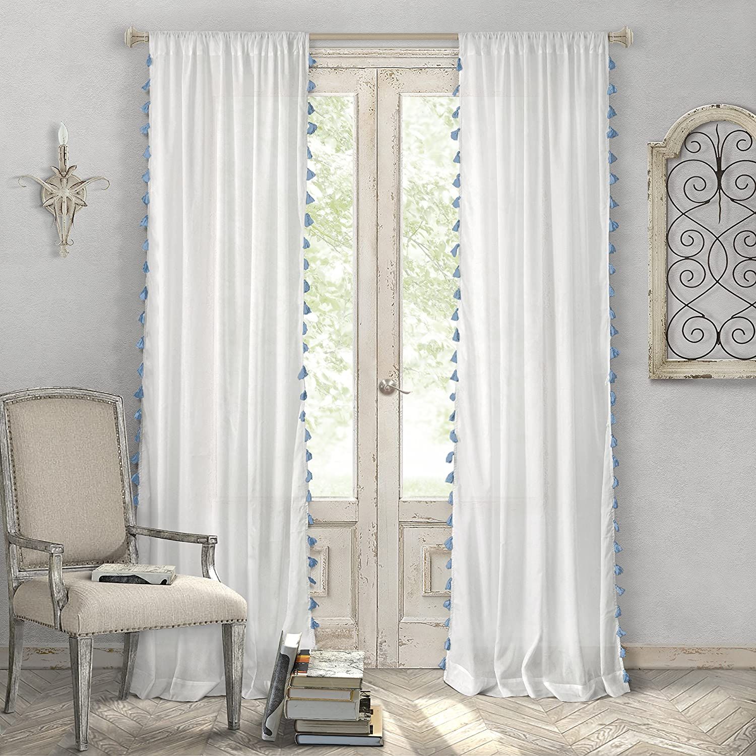 "Elrene Home Fashions Bianca Semi-Sheer Rod Pocket Window Curtain Panel with Tassels, 52"" x 84"" (1, Blue/Taupe"