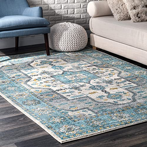 Well Woven Cato Blue Vintage Bohemian Medallion Area Rug 8×10 7 10 x 10 6