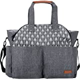 Lekebaby Baby Diaper Bag Tote Satchel Messenger Bag for Moms and Girls in Grey, Arrow Print