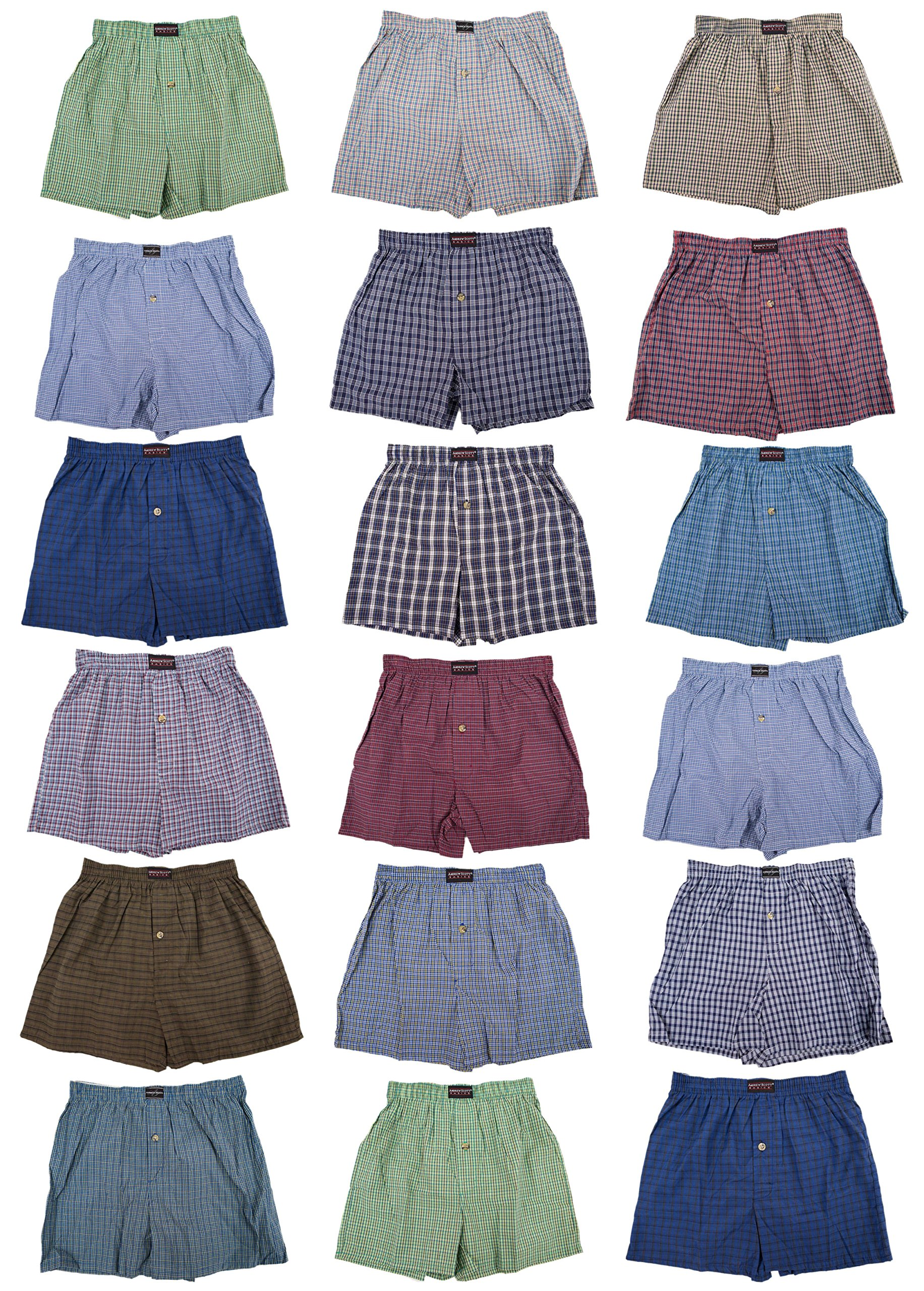 Classic Basics Men's 12 Pack Woven Boxers Sleep Shorts Travel Pack Collection (XL (40-42 ), Bonus Pack of 18 - Assorted Patterns)