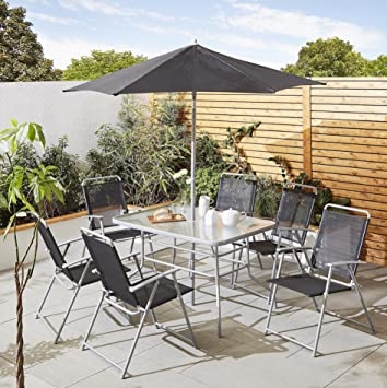 tesco hawaii 8 piece garden furniture set table 6 chairs with parasol