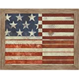 "Amazon Brand – Stone & Beam Classic Red, White and Blue Flag Patterns Print Wall Art Decor - 21"" x 27"" Frame, Warm Grey Barnw"