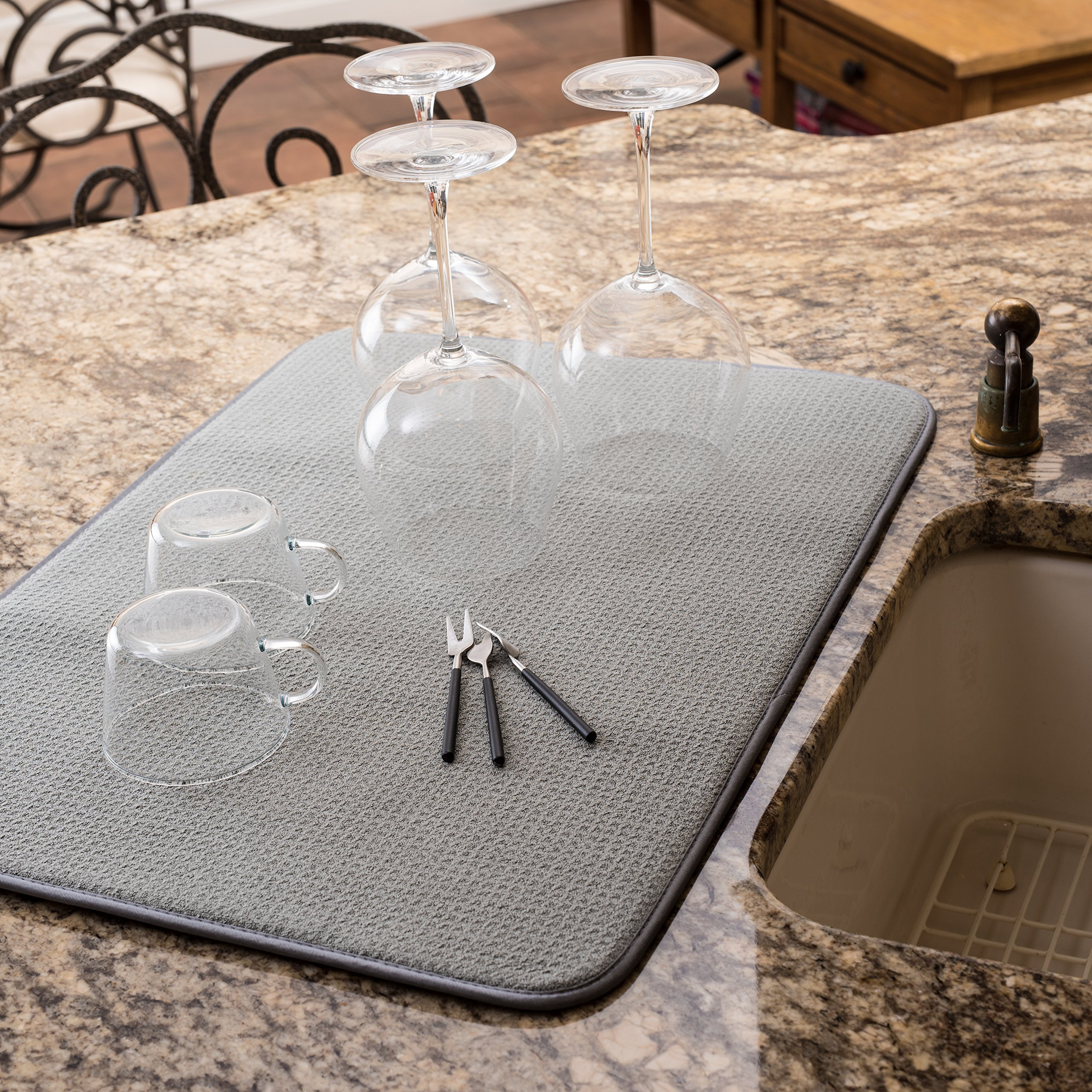 XXL Dish Mat 24'' x 17'' (LARGEST MAT) Microfiber Dish Drying Mat, Super absorbent by Bellemain by Bellemain (Image #4)