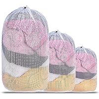 Mesh Laundry Bag, Kmeivol 3 Pack Laundry Bags, Heavy Duty Drawstring Laundry Mesh Bag, Durable White Mesh laundry Bag…