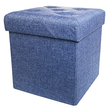 Folding Cube Storage Ottoman With Padded Seat, 15u0026quot; X 15u0026quot; ...
