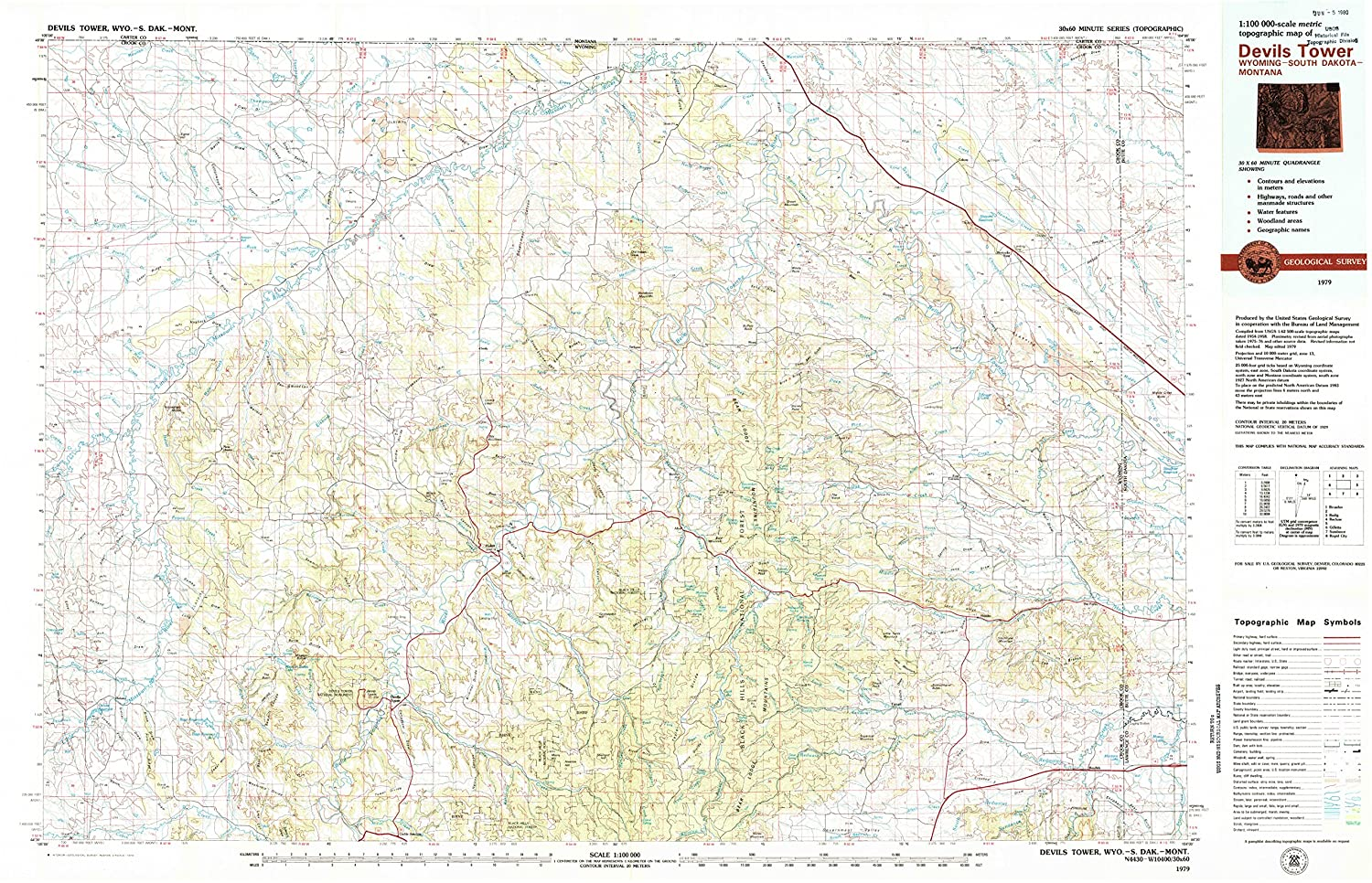Amazon devils tower wy topo map 1100000 scale 30 x 60 amazon devils tower wy topo map 1100000 scale 30 x 60 minute historical 1979 updated 1979 242 x 375 in paper sports outdoors publicscrutiny Choice Image