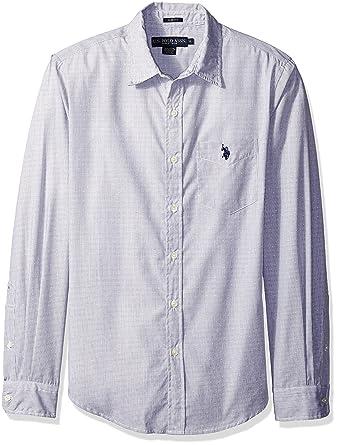 3d2348ed3 U.S. Polo Assn. Men s Long Sleeve Slim Fit Dobby Stripe Sport Shirt ...