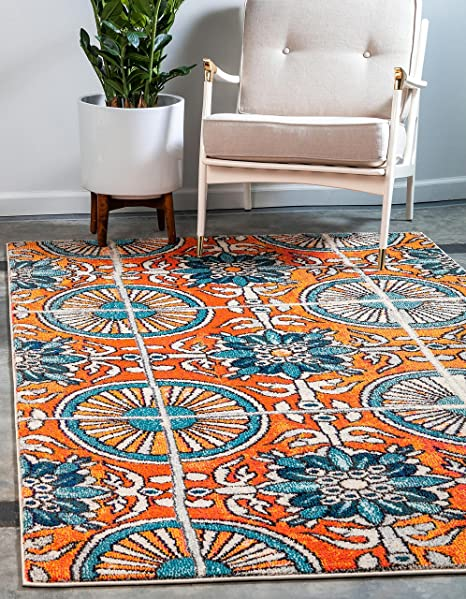 Amazon Com Unique Loom Estrella Collection Vibrant Abstract Orange Area Rug 3 3 X 5 3 Furniture Decor