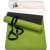 Dropby & Yogamat, antislip TPE met 2-in-1 draagriem en hoogwaardige katoenen tas, extra breed, 66 cm x 183 cm lang x 5…