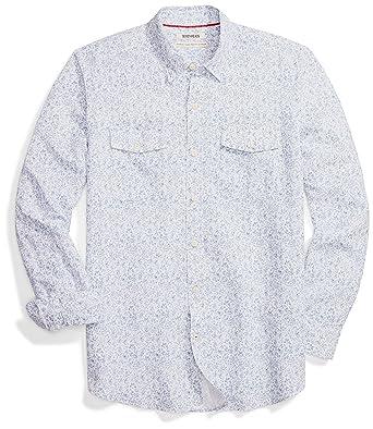 572576632a9e Goodthreads Men's Standard-Fit Long-Sleeve Linen and Cotton Blend Shirt,  Blue Floral