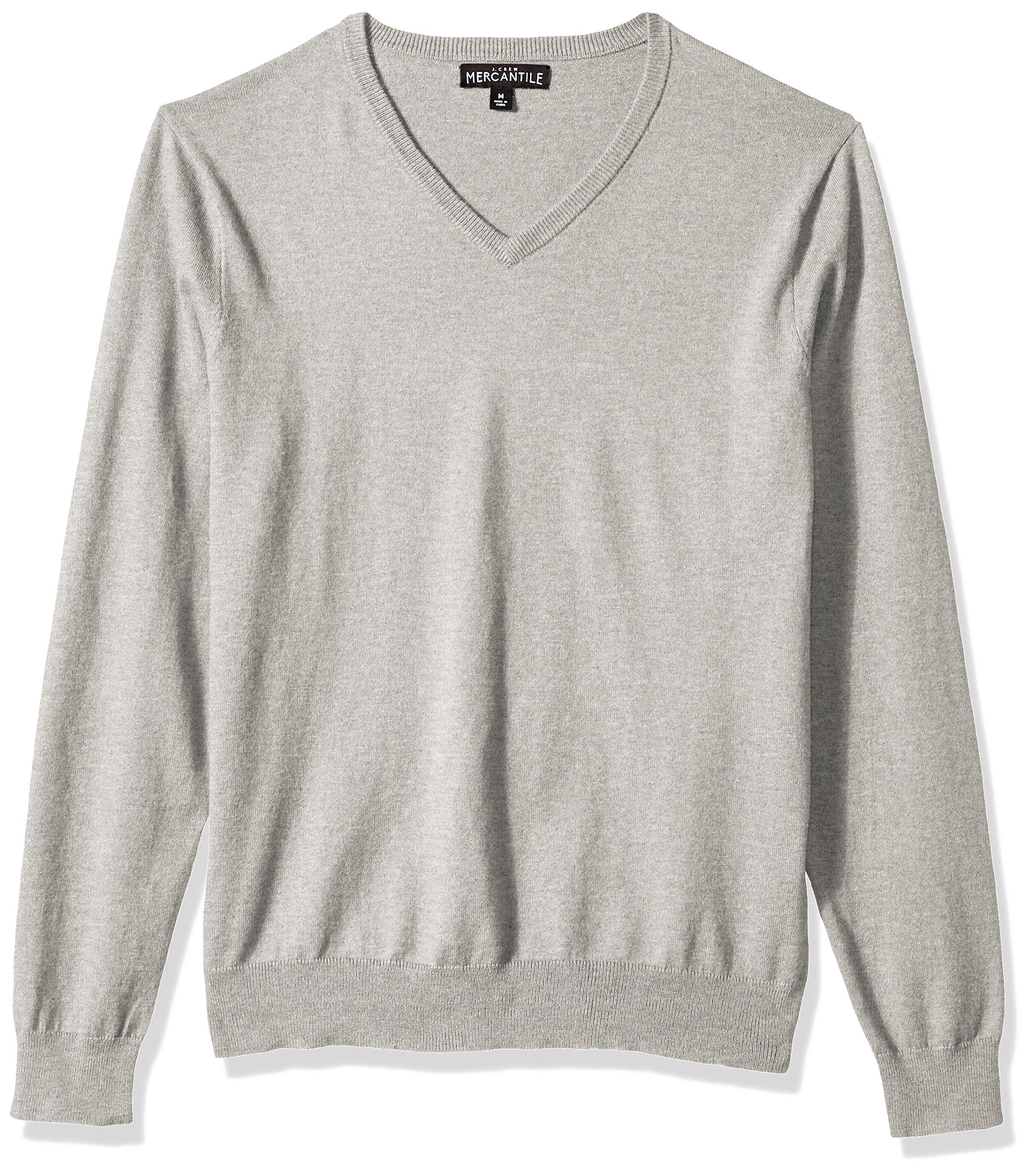 J.Crew Mercantile Men's Long-Sleeve Cotton V-Neck Sweater, Heather Platinum, M