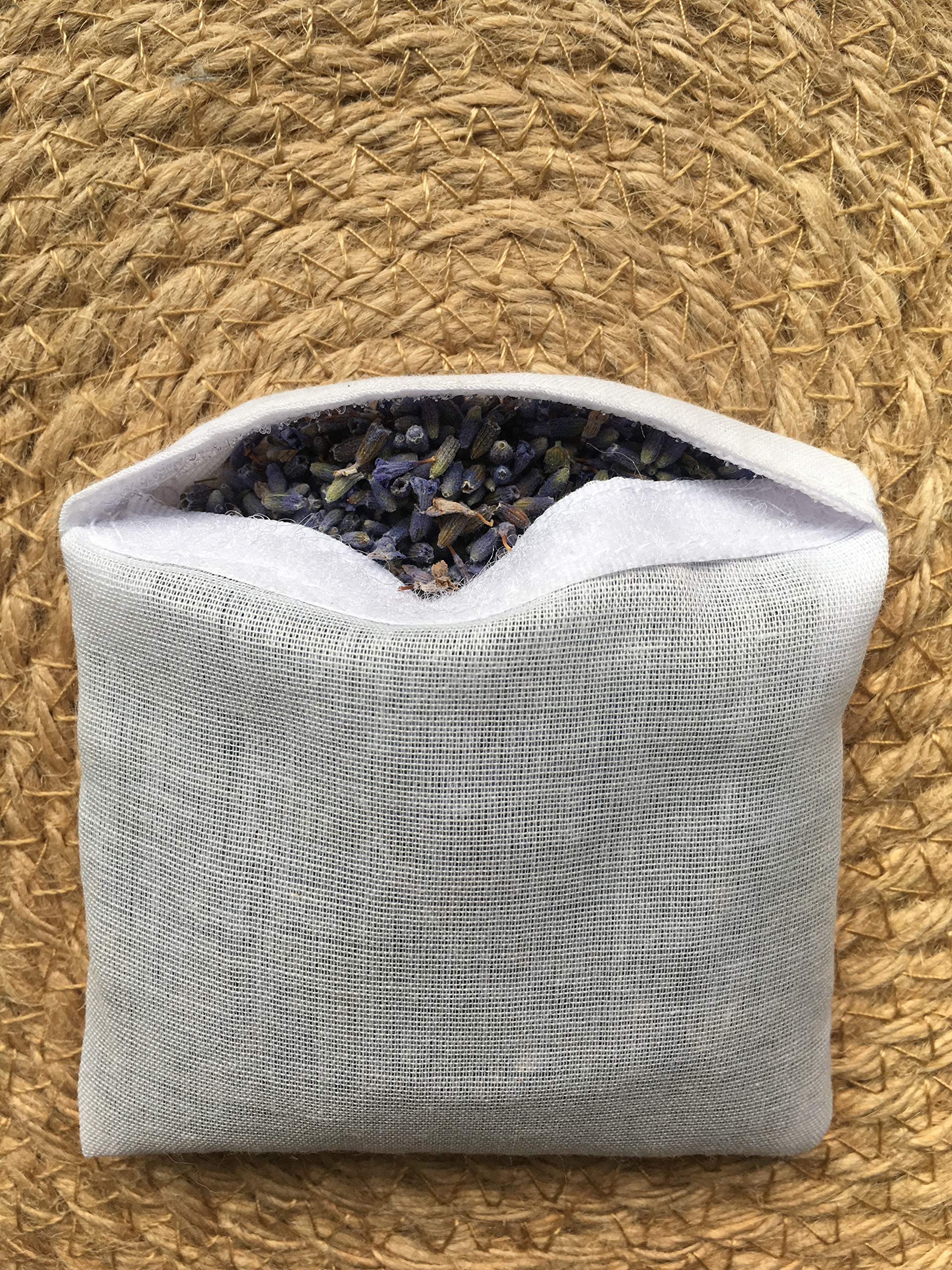 Hand Embroidered Lavender Pillow Sachet Bag ''Lavender Crown'' Natural Linen Cushion 6''x6'', Set of 3 by Minhcraft (Image #6)