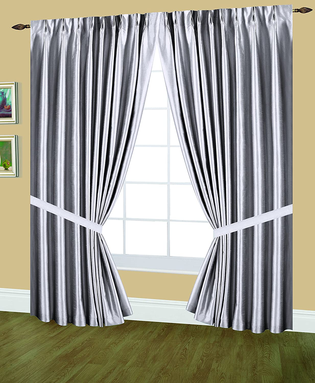 Silver 96 by 84-Inch Editex Home Textiles Elaine Lined Pinch Pleated Window Curtain
