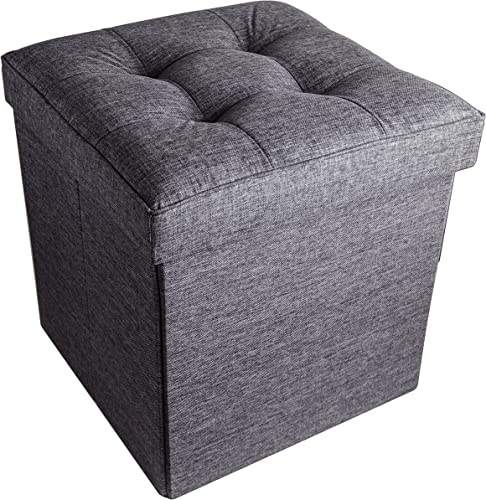 Red Co. Folding Cube Storage Ottoman with Padded Seat, 15 x 15 – Grey