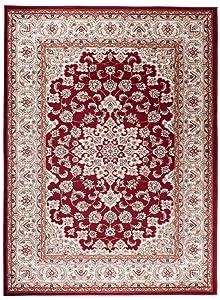 Grande Tapis d'Orient - Rouge Beige - Motif Persan Traditionnel et Oriental - Tapis de Salon Ultra Doux - AYLA - 200_x_300_cm