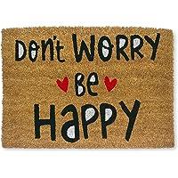 KOKO DOORMATS felpudos Entrada casa Originales, Fibra de Coco y PVC, Felpudo Exterior Don't Worry be Happy, 40x60x1.5 cm…