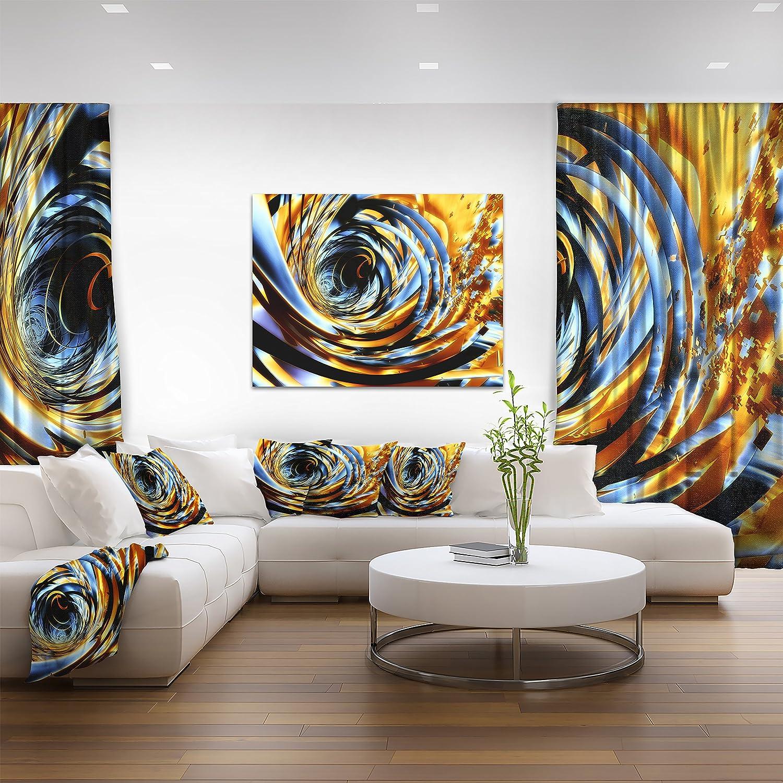 Designart PT9198-32-16 Fractal 3D Whirlwind Stripes-Abstract Art Canvas Print-32x16 32x16 Brown