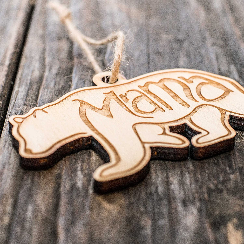 Raw Wood 4x2in Mama Bear Ornament