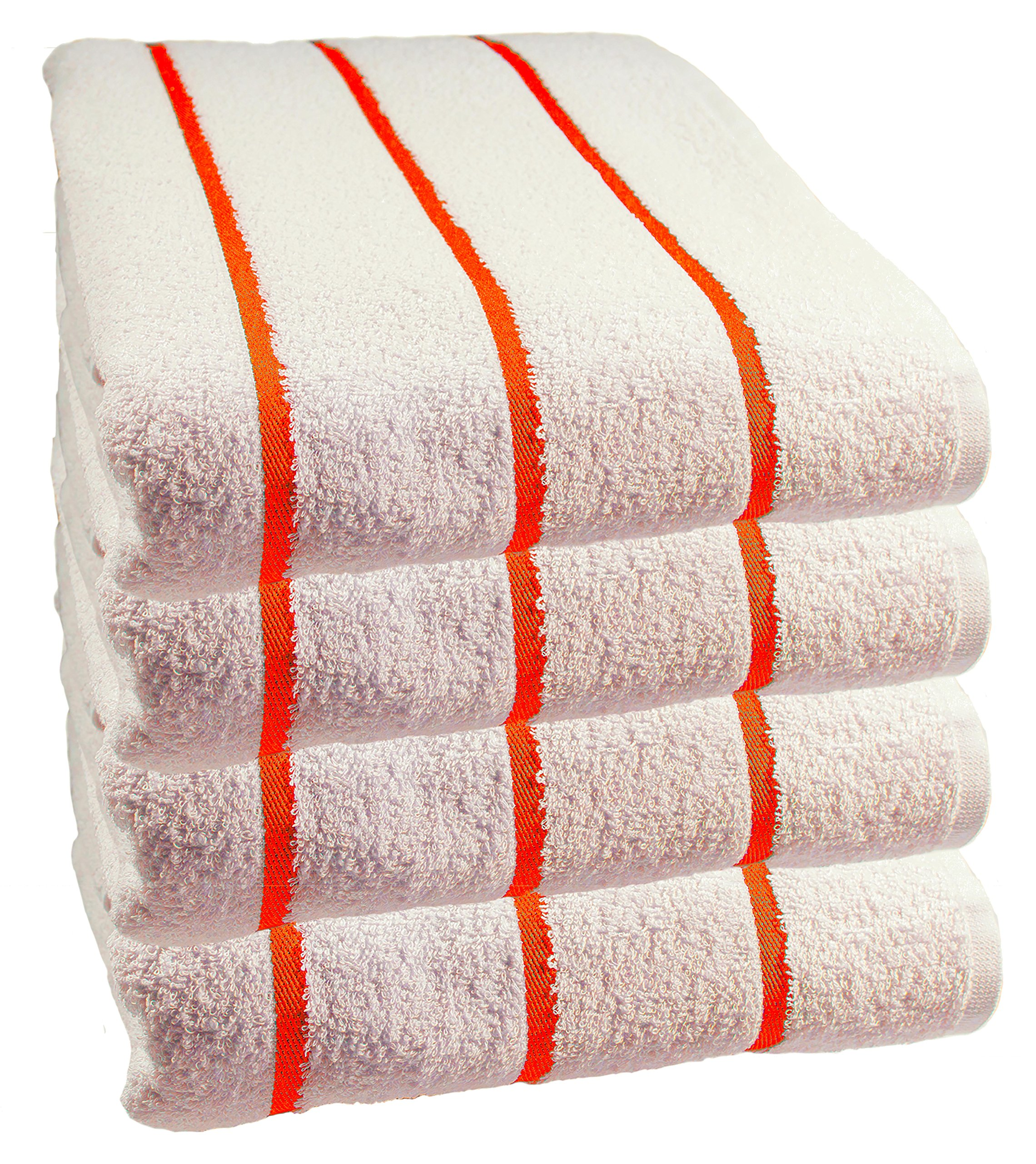 Hospitality Supply Inc 100% USA Cotton – Family variety pack of 4 Pool-Beach Striped Towels, 30x60. Sold to major hotels in the USA, Caribbean. (Orange)