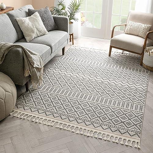 Cheap Well Woven Ventova Grey Tribal Geometric Area Rug 8×10 7'10″ x 10'6″ living room rug for sale