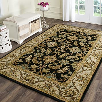 Safavieh Heritage Collection HG628B Handmade Traditional Oriental Black And  Beige Wool Area Rug (4u0027