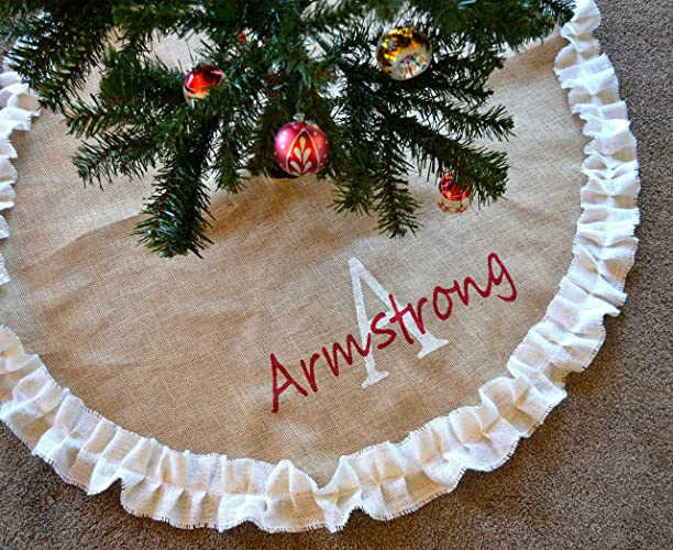 christmas tree skirt white ruffled tree skirt burlap tree skirt personalized tree skirt