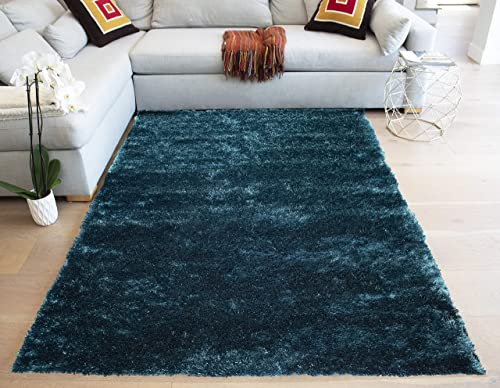 LA Large Plush Fluffy Soft Furry Fuzzy Shag Shaggy Big Soft Plush Rectangle Plain Solid 8-Feet-by-10-Feet Polyester Made Area Rug Carpet Rug Teal Color