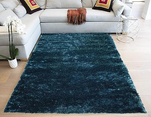 LA Rectangular Deep Pile Fluffy Modern Silky Canvas Backing Shag Shaggy Floor Fluffy Fuzzy Medium Pile 8-Feet-by-10-Feet Polyester Made Area Rug Carpet Rug Teal Color