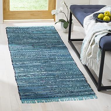Safavieh Rag Rug Collection RAR121B Hand Woven Blue and Multi Cotton Runner (2'3  x 6')